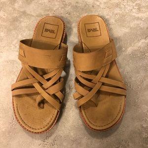 Teva tan slip on sandals strappy with toe strap